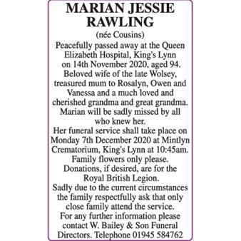 MARIAN JESSIE RAWLING