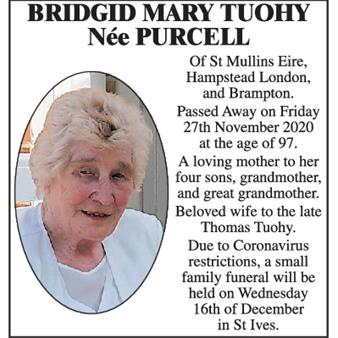 Bridgid Mary Tuohy, Née Purcell.