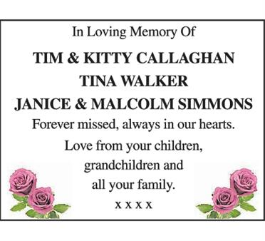 TIM & KITTY  CALLAGHAN, TINA WALKER JANICE & MALCOM SIMMONS