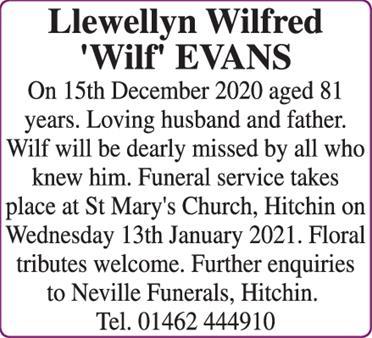 EVANS Llewellyn Wilfred 'Wilf'