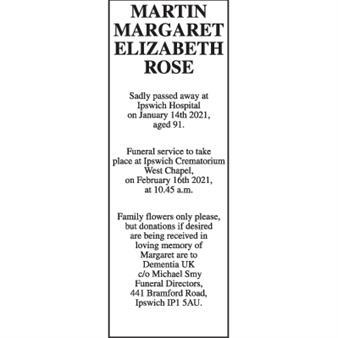 Margaret Elizabeth Rose MARTIN