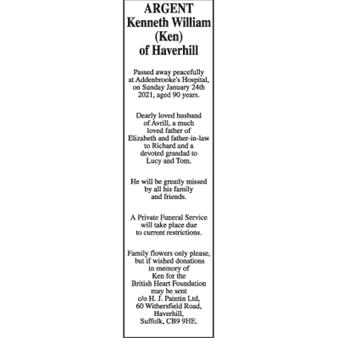 Kenneth William (Ken) ARGENT of Haverhill