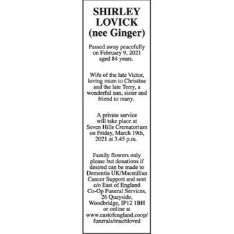 Shirley Lovick (nee Ginger)