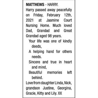 HARRY MATTHEWS