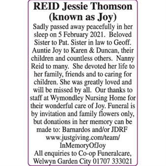 REID Jessie Thomson