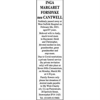 INGA MARGARET FORSDYKE nee CANTWELL