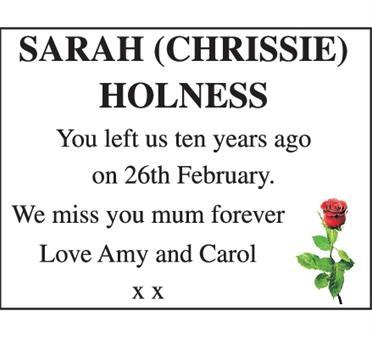 SARAH (CHRISSIE) HOLNESS