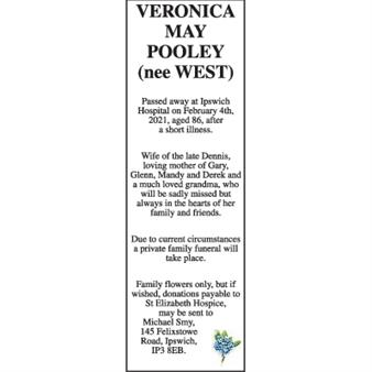 Veronica May Pooley (nee West)