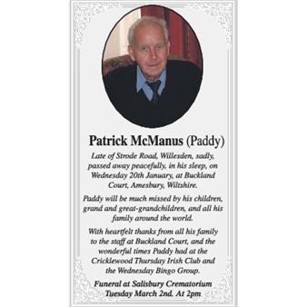 Patrick  McManus (Paddy)