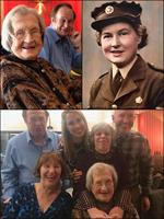 Betty Park on her 100th birthday w/ some family. And her photo from military service