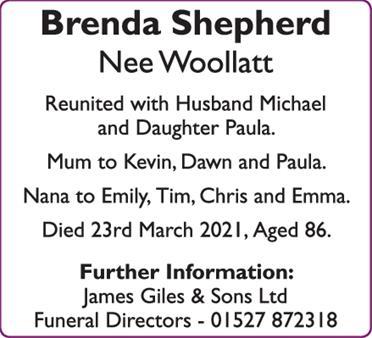Brenda Shepherd Nee Woollatt