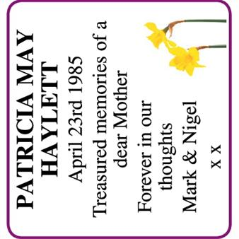 Patricia May Haylett