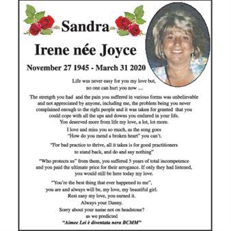 Sandra Irene nee Joyce