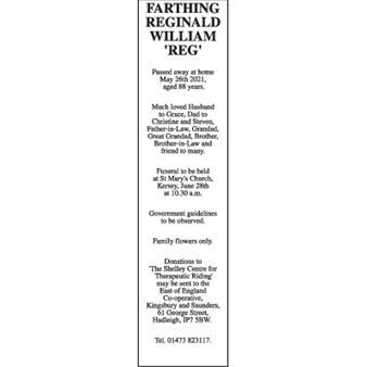 REGINALD WILLIAM 'REG' FARTHING