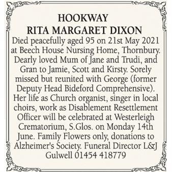 RITA MARGARET DIXON HOOKWAY