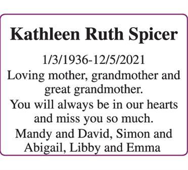 Kathleen Ruth Spicer