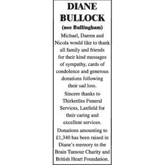 DIANE BULLOCK (nee Bullingham)