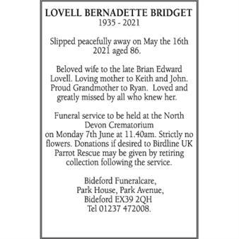 BERNADETTE BRIDGET LOVELL (NEE LAKE